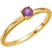 Karat Kids 14K Yellow Gold Imitation Amethyst birthstone Ring, Size 3