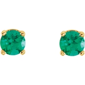 Karat Kids 14K Yellow Gold Youth Imitation Emerald Earrings