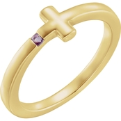 Karat Kids 14K Yellow Gold Amethyst Youth Cross Ring, Size 3