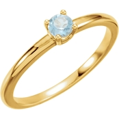 Karat Kids 14K Yellow Gold Imitation Aquamarine Birthstone Ring, Size 3