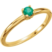 Karat Kids 14K Yellow Gold Imitation Emerald Birthstone Ring, Size 3