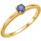 Karat Kids 14K Yellow Gold Imitation Blue Sapphire Birthstone Ring, Size 3