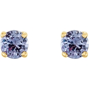 Karat Kids 14K Yellow Gold Lavender Cubic Zirconia 4 Prong Earrings