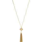 Jessica Simpson Small Lace Charm and Tassel Pendant Necklace
