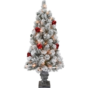 National Tree Company Snowy Bristle Pine Entrance Tree with Clear Lights