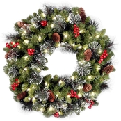 National Tree Co. 24 in. Crestwood Spruce Wreath with Battery Operated White LEDs
