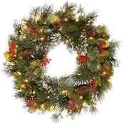 National Tree Co. 24 in. Wintry Pine Wreath with Battery Operated White LED Lights