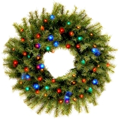 National Tree Co. 24 in. Norwood Fir Wreath with Battery Operated Multicolor LEDs