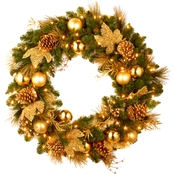 National Tree Co. 24 in. Elegance Spruce Wreath with Battery Operated White LEDs