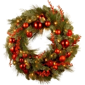 National Tree Co. 24 in. Christmas Red Mixed Wreath with Battery Power White LEDs