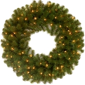 National Tree Co. 24 in. North Valley Spruce Wreath with Clear Lights