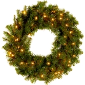 National Tree Co. 24 in. Kincaid Spruce Wreath with Clear Lights