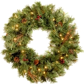 National Tree Co. 24 in. Glistening Pine Wreath with Battery Operated White LEDs