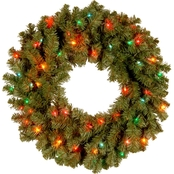 National Tree Co. 24 in. Kincaid Spruce Wreath with Multicolor Lights