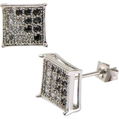 Stainless Steel Men's Clear and Black Cubic Zirconia Square Hip Hop Stud Earrings