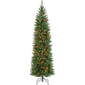 National Tree Company Kingswood Fir Pencil Tree with Multicolor Lights