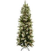 National Tree Company 7.5 ft. Wintry Pine Slim Tree with Clear Lights