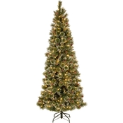 National Tree Company 7.5 ft. Glittery Bristle Slim Pine Tree with Clear Lights