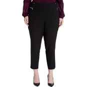 Calvin Klein Plus Size Straight Pants with Buckle and Zipper