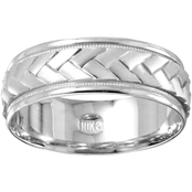 10K White Gold Braided 7mm Band, Size 10