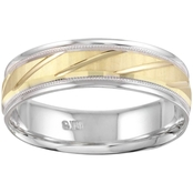 10K Two Tone 600 Slanted 6mm Band, Size 10