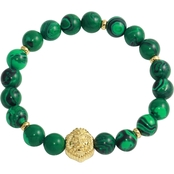 Stainless Steel Yellow Ion Plated and Green Agate Stretch Bracelet