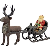 Design Toscano Christmas Santa on Sleigh with Reindeer Die Cast Iron Statue
