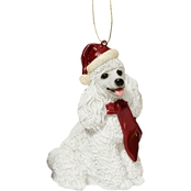 Design Toscano White Poodle Holiday Dog Ornament Sculpture