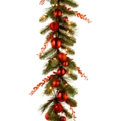 National Tree Co. 9 Ft. Christmas Red Mixed Garland with Battery Power White LEDs