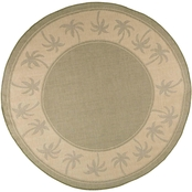 Lavish Home 8 ft. Round Palm Tree Area Rug