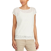 Lauren Ralph Lauren Petite Pawlegk Embroidered Sheer Top