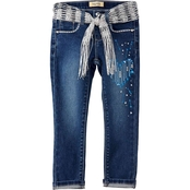 Squeeze Little Girls Belted Glitter Heart Jeans with rolled cuffs