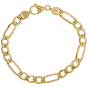10K Gold 7.3mm Concave Figaro Chain Bracelet