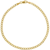 10K Yellow Gold 2.7mm Concave Curb Chain Bracelet