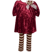 Bonnie Jean Infant Girls Crushed Velvet Top and Striped Leggings Set