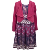 Bonnie Jean Toddler Girls Paisley Boarder Dress With Cardigan