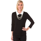 Karl Lagerfeld Pearl Necklace Collar Sweater