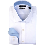 Tailorbyrd Classic White Soft-Touch Herringbone Non-Iron Dress Shirt