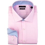 Tailorbyrd Pink Soft-Touch Herringbone Non-Iron Dress Shirt