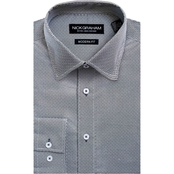 Nick Graham Modern Fitted Performance Stretch Square Dot Print Dress Shirt