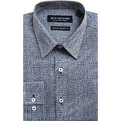 Nick Graham Modern Fitted Performance Stretch Heather Print Dress Shirt