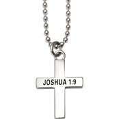 Shields of Strength Chrome Cross Necklace Joshua 1:9