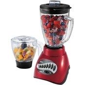 Oster Precise Blend 300 Blender Plus Food Chopper, Metallic Red, Glass Jar