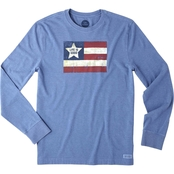 Life is Good Crusher Red White Blue Flag Tee