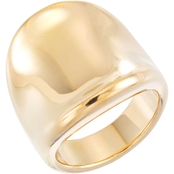Evergold 14K Yellow Gold Concave Ring Reinforced with Diamond Resin, Size 7