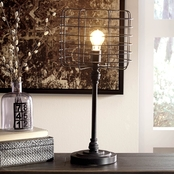 Signature Design by Ashley Javan Metal Table Lamp, Antique Black, Contemporary