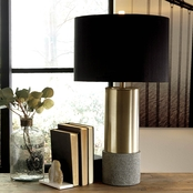 Signature Design by Ashley Jacek Metal Table Lamp, Gray/Brass Finish, 2 pk.