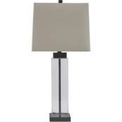 Signature Design by Ashley Alvaro Glass Table Lamp, Clear/Bronze Finish, 2 pk.