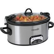 Crock-Pot 6 Quart Programmable Cook & Carry Oval Slow Cooker, Stainless Steel