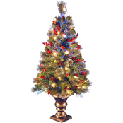 National Tree Company 4 Ft. Fiber Optic Crestwood Spruce Tree In Gold Pot